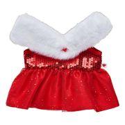 Pailletten Weihnachtskleid für Stofftiere